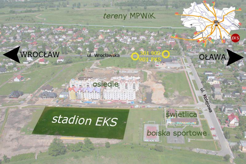 Zdjęcie stadionu w Radwanicach z samolotu